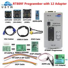 Rt809f serial isp programador ferramenta + 12 itens 1.8v adaptador clipe de teste sop8 isp cabo eprom flash vga isp frete grátis