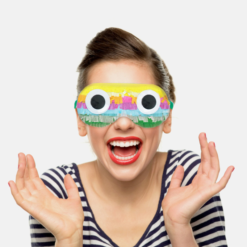 Colourful Pinata Children/'s Party Game Paper Blindfold Eye Mask Accessory