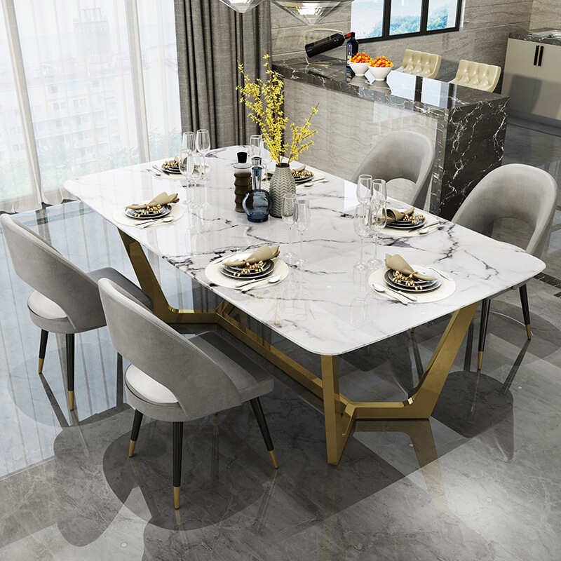 Nordic Stainless Steel Dinette Combination Simple Designer Creative Light Luxury Stainless Steel Rectangular Marble Dining Table Aliexpress
