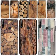 Wumeiyuan Wood Textures Cover Black Soft Shell Phone Case For Huawei Y5 Y6 Y7 Y9 Prime Pro II 2019 2018 natural wooden phone case for huawei mate rs maters case cover walnut rosewood black ice wood shell real wood