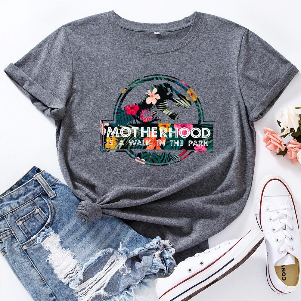 JFUNCY Casual Cotton T-shirt Women T Shirt Motherhood Letter Printed Oversized Woman Harajuku Graphic Tees Tops 18
