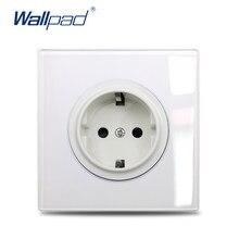 Wallpad – prise universelle ue, royaume-uni, français, chargeur USB, pour télévision, Satellite, Audio, HDMI, panneau en verre blanc, coins arrondis, gamme L6