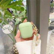 สำหรับ AirPods 2เกาหลีน่ารักสำหรับ Air Pods ดอกไม้หรูหราลูกไม้พวงกุญแจซิลิโคนหูฟังสำหรับ Apple Air Pods pro