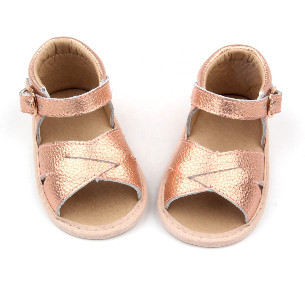 100pcs/lot Summer Baby Girl Sandals Anti-Slip Crib Shoes Soft Sole Prewalkers Infant Baby Girls PU Leather Party Gold Sandals