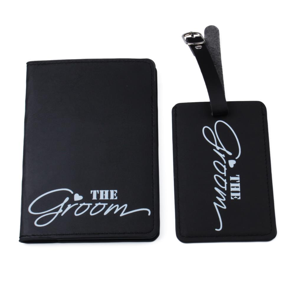 Bride Groom Travel Accessories Set Luggage Tag And Passport Set Travel Accessories PU Leather ID Tag Passport Holder LT34CH11