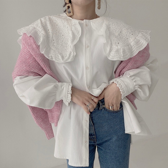 Ezgaga Blouse Women Korean Chic Vintage Long Sleeve Turn-Down Collar Embroidery Hook Flower Loose Solid Ladies Shirts Fashion 3
