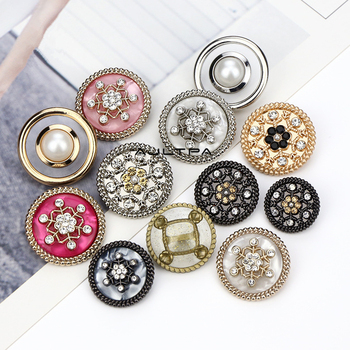100Pcs 18mm 25mm Round Metal Acrylic Diamond Buttons Woolen Coat Suit Coat Dresses Button For Clothing Decoration Button