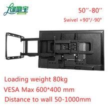 LVDIBAO uchwyt ścienny na TV obrotowe pochylenia, solidne wytrzymały pełnoekranowy mocowanie telewizora do 50-80 Cal telewizor z płaskim, trzyma się do 80kg, Max VESA 600x400mm