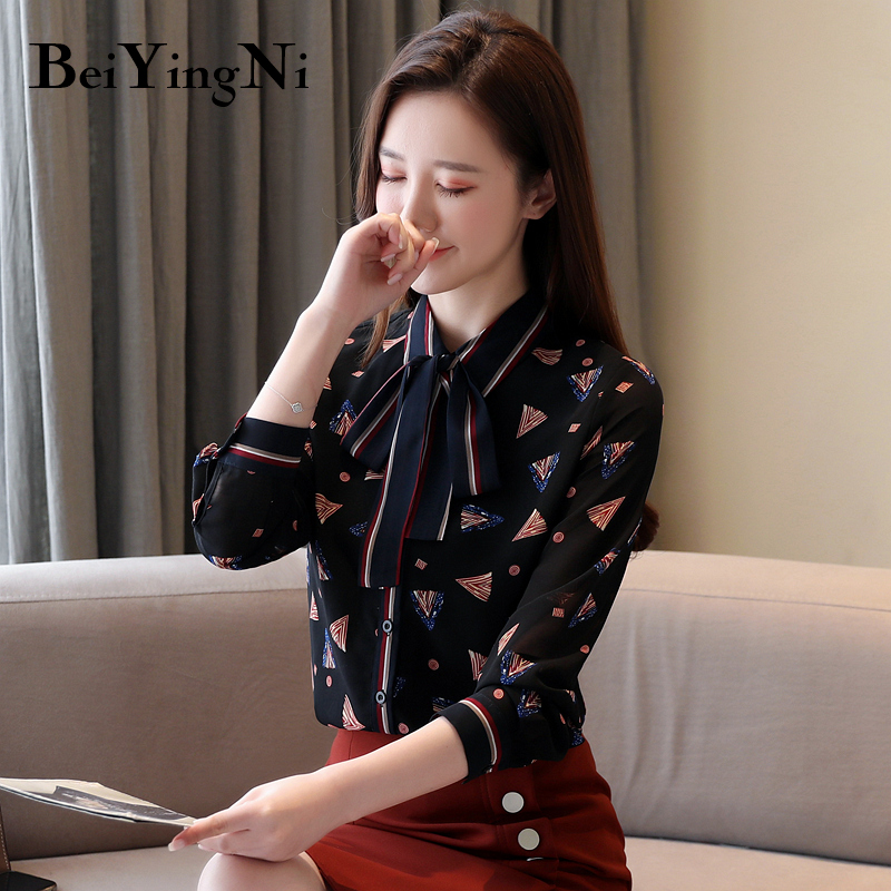 Beiyingni Women's Blouse Spring Summer Chiffon Elegant Female Shirt Printed Long Sleeve Casual Blusas Office Ladies Vintage Tops
