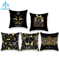 Decorative Throw Pillows Case Animals Deer Merry Christmas Trees 100% Polyester Couch Cushion Cover for Sofa Car Home Decoration