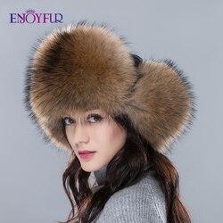 Importato cappelli di pelliccia per le donne di inverno tutta la volpe/cappello di pelliccia di procione con parte superiore di cuoio reale nuovo pop di alta qualità unisex del cappello del bombardiere