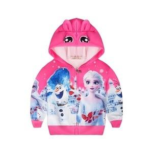 Image 2 - אופנה Elsa אנה מעיל חורף קריקטורה נים בגדי בנות מעילי ברדס רוכסן מעיל תינוק עבור בנות מעיל