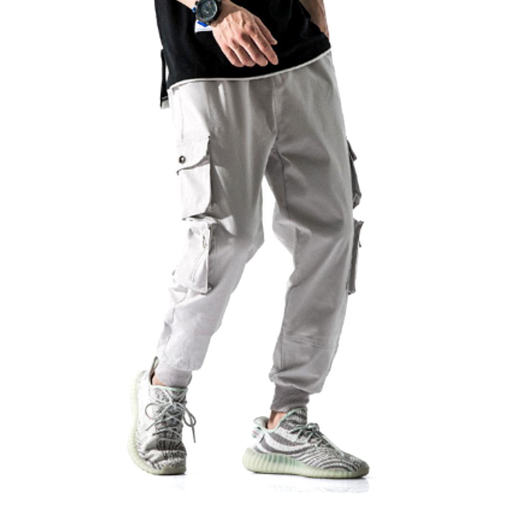 Men Multi-pocket Elastic Waist Design Harem Pant Men Streetwear Punk Hip Hop Casual Trousers Joggers Male Dancing Pant