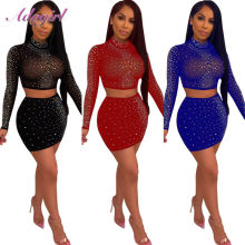 Vrouwen Party Club Tweedelige Set Sexy Crystal Diamond Sheer Mesh Lange Mouwen Crop Tops + Bodycon Mini Rok Outfit avondjurk(China)