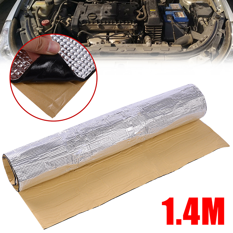 Mayitr 1pc 1x1.4m Car Engine Heat Barrier Mat Sound Deadener Noise Reduction Insulation Thermal Properties Non-Flammable