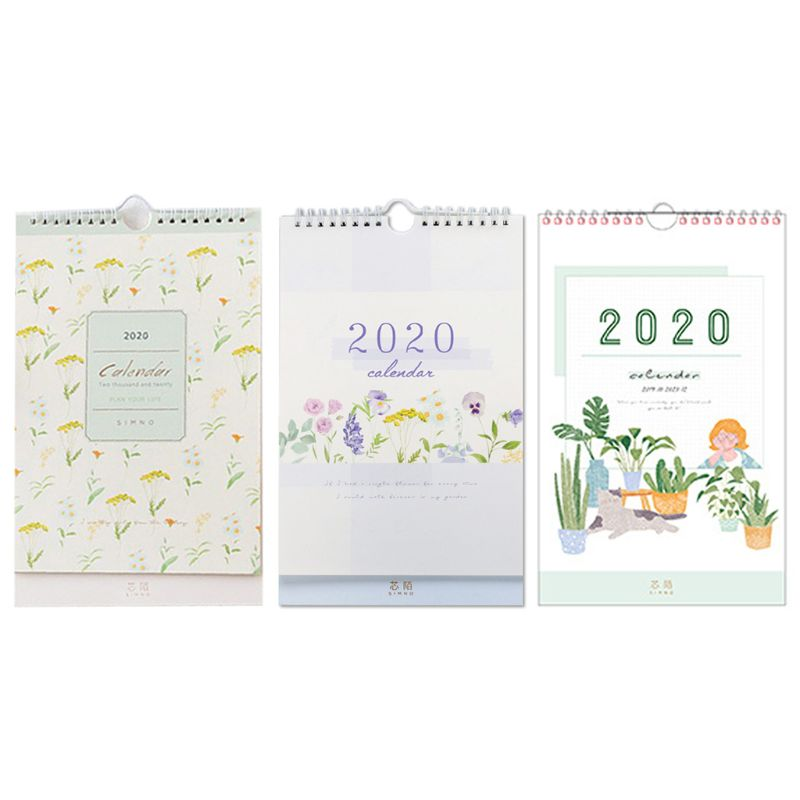 2020 Fresh Wall Hanging Paper Calendar Memo Daily Schedule Planner Yearly Agenda