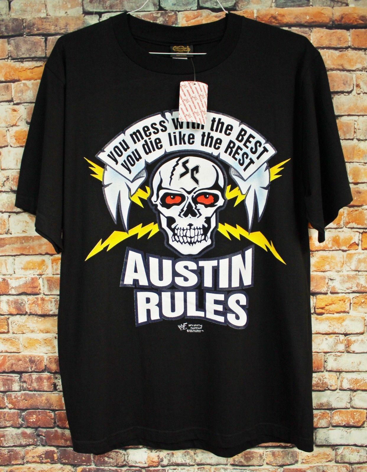 NOS Vtg 1998 kamień zimno T Shirt duży WWF zapasy czaszki Austin 3:16 martwe zdjęcie fajne dorywczo duma t shirt mężczyźni Unisex