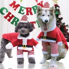 Hat Dog-Cat-Pajamas Winter Pet-Dress-Up Fall Fleece Christmas Santa-Claus Large Medium