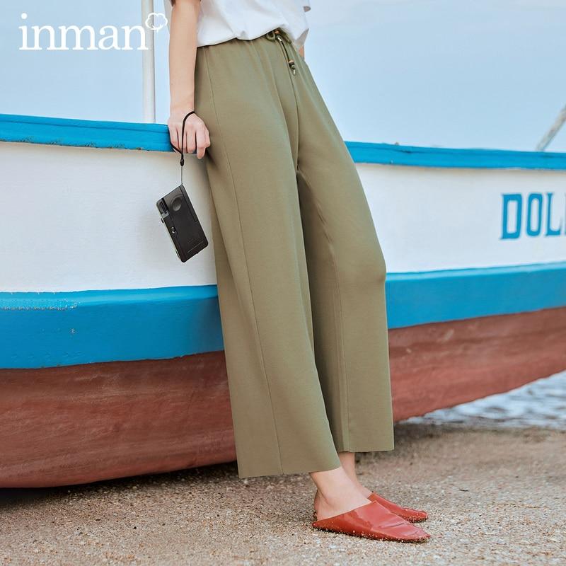 INMAN 2020 Summer New Arrival Retro Literary Elastic Drawstring Ankle Length Loose Pant