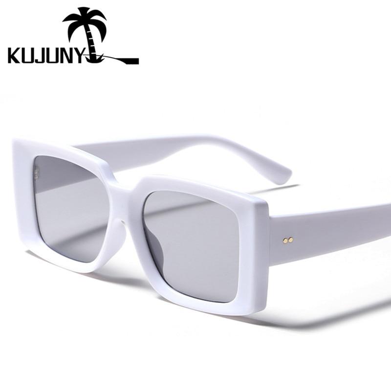 Квадратные модные женские солнцезащитные очки kujuny в стиле