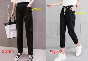 Image 5 - New Women Casual Harajuku Spring Autumn Big Size Long Trousers Solid Elastic Waist Cotton Linen Pants Ankle Length Haren Pants