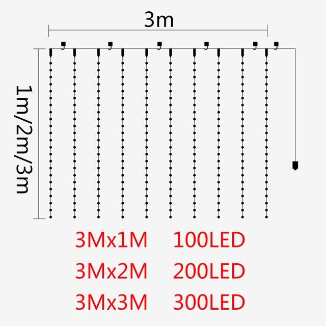 3M x 2M 3M x 1M Led étanche fil de cuivre rideau lumineux 3M x 3M conte de fées rêve chaîne lumières décoration de fond pour salon