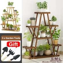 3 Tier  Wooden Plant Stand Flower Rack Bonsai Display Shelf Holder Garden Balcony Patio Flower Stands Home Storage Shelves