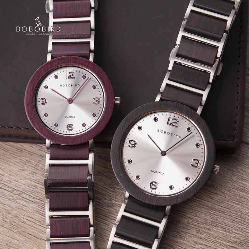 BOBO BIRD Couple Wooden Watches Men Women Wood Quartz Lover's Wrist Watch Male Ladies Quartz Thin Gift Erkek Kol Saati