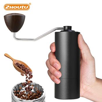Zhoutu ręczny młynek do kawy 58MM aluminiowy młynek do zadziorów stożkowy młynek do kawy miller przenośny młynek do minicoffee tanie i dobre opinie CN (pochodzenie) Rohs BL38-SY Szlifierek zadziorów (stożkowe) Aluminium manual