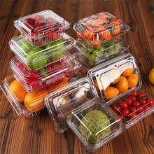 50pcs Transparent Cupcake Box Multiple Sizes Rectangle Pet Fruit Vegetable Plastic Packaging Gift Supplies