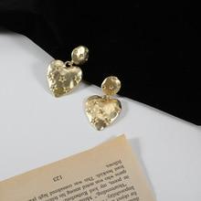 Simple Star Print Heart Earrings Fashion Gold Color Metal Big Statement Drop Dangle Earrings Women Hanging Fashion Jewelry Gift недорого