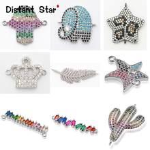 Completa animais encantos pulseira conector jóias acessórios para diy fazendo pulseira de cobre zircon micro pave cz atacado