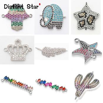 Complete animal charms bracelet jewelry connector accessories for diy making copper zircon micro pave cz wholesale