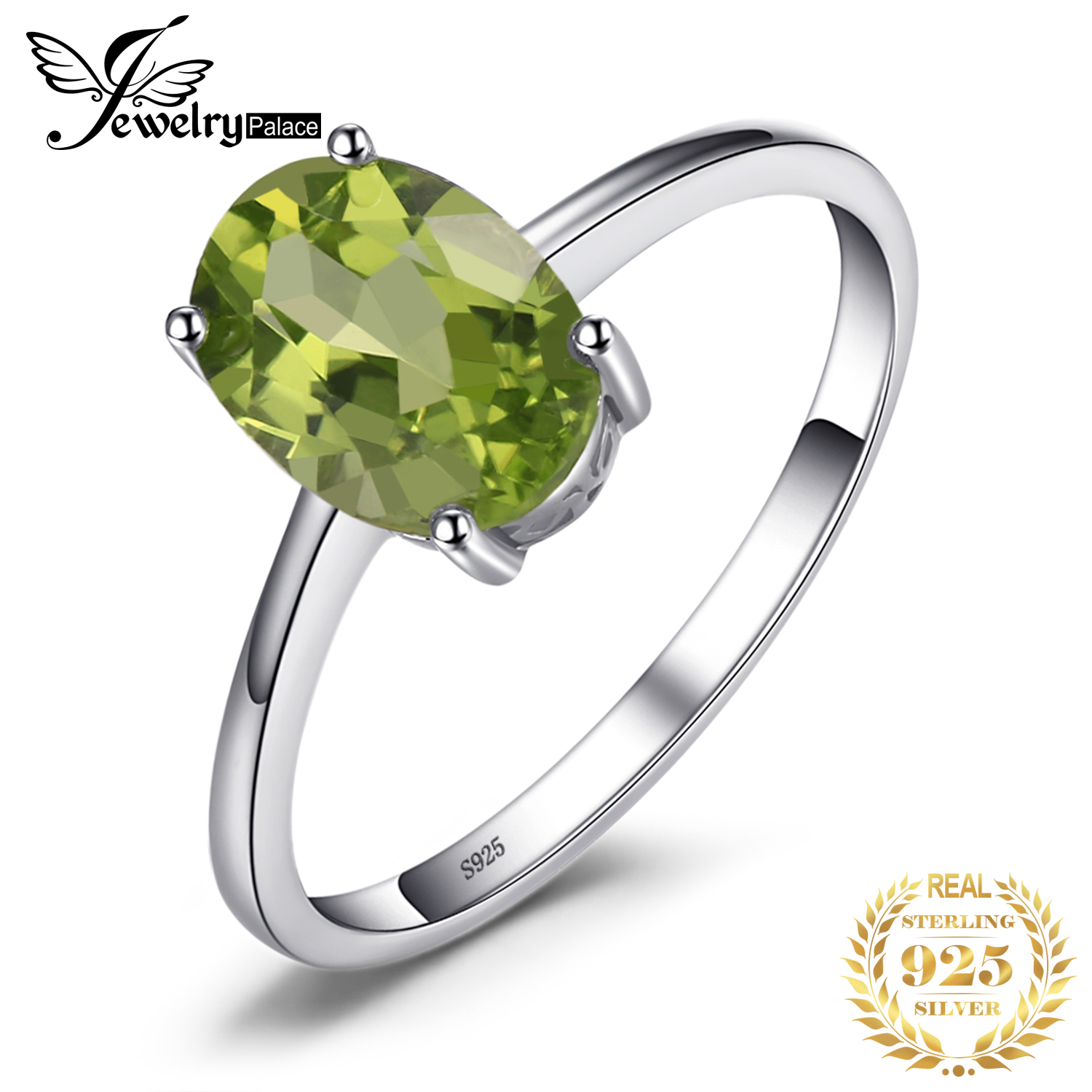 JewelryPalace Genuine Peridot Ring Solitaire 925 Sterling Silver Rings For Women Engagement Ring Silver 925 Gemstones Jewelry