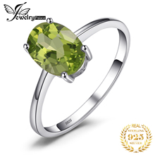 JewelryPalace Oval 1.4ct Natural verde Peridot piedra anillo genuino 925 mujeres de plata esterlina joyería de compromiso