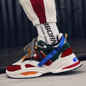 Image 2 - 2020 New Cushion Damping Men Casual Vulcanize Shoes Mesh Weaving Male Flats Shoes White Dad Sneakers Black Outdoor Walking Men