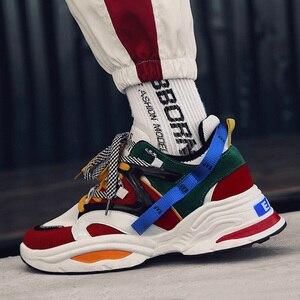 Image 2 - 2020 yeni yastık sönümleme erkekler rahat vulkanize ayakkabı ağ dokuma erkek Flats ayakkabı beyaz baba Sneakers siyah açık yürüyüş erkekler