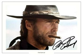 Signed Photo with Clint Eastwood Printed on Canvas 1