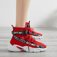 High Top Sport Casual Shoes Women Fashion Sneakers Breathable Fly Knitting White Sneakers Autumn Ankle Shoes Botas Mujer XU070