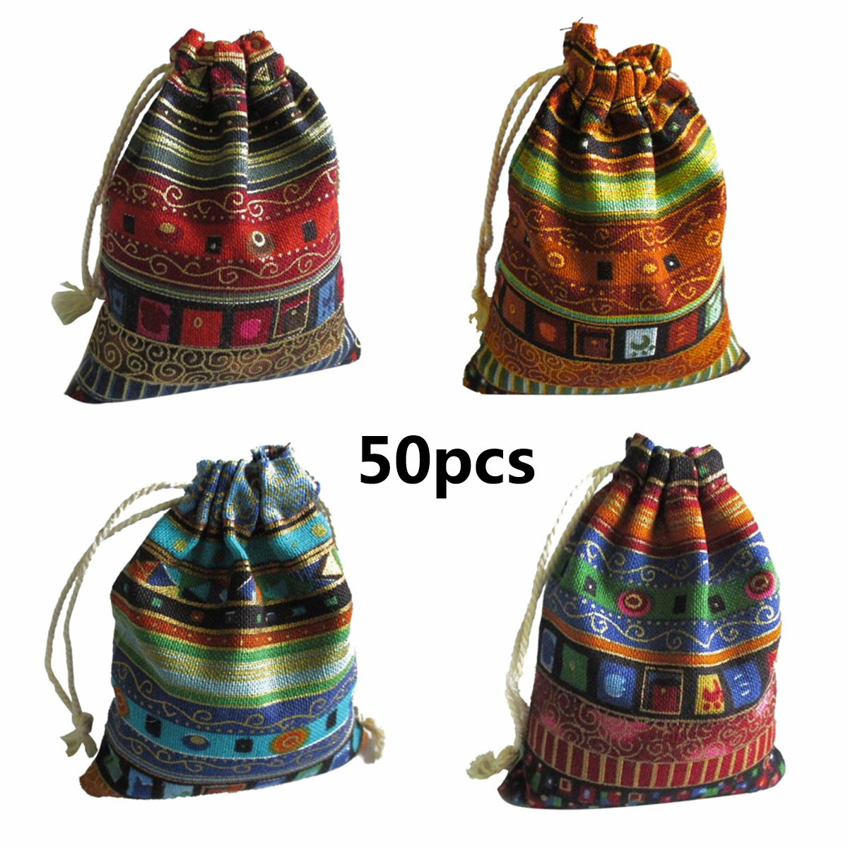 50Pcs  Cotton Jewelry Bags  Ethnic Gift Bags Drawstring Bags Christmas Jewelry Pouches Wedding/Candy Bags 9.5*12cm