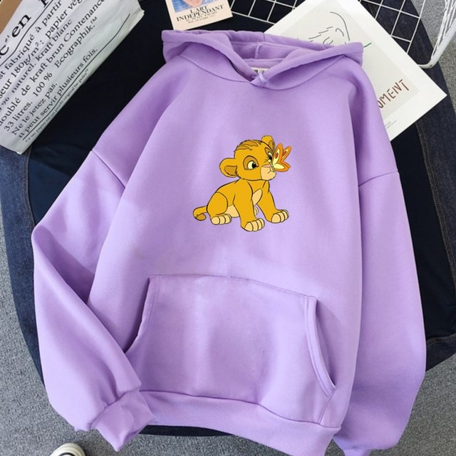 Hot Discount 3ebf4 Cartoon Print The Lion King Hoodie Women Loose Casual Cute Long Sleeve Lady Pullover Tops Harajuku Streetwear Sweatshirt Cicig Co