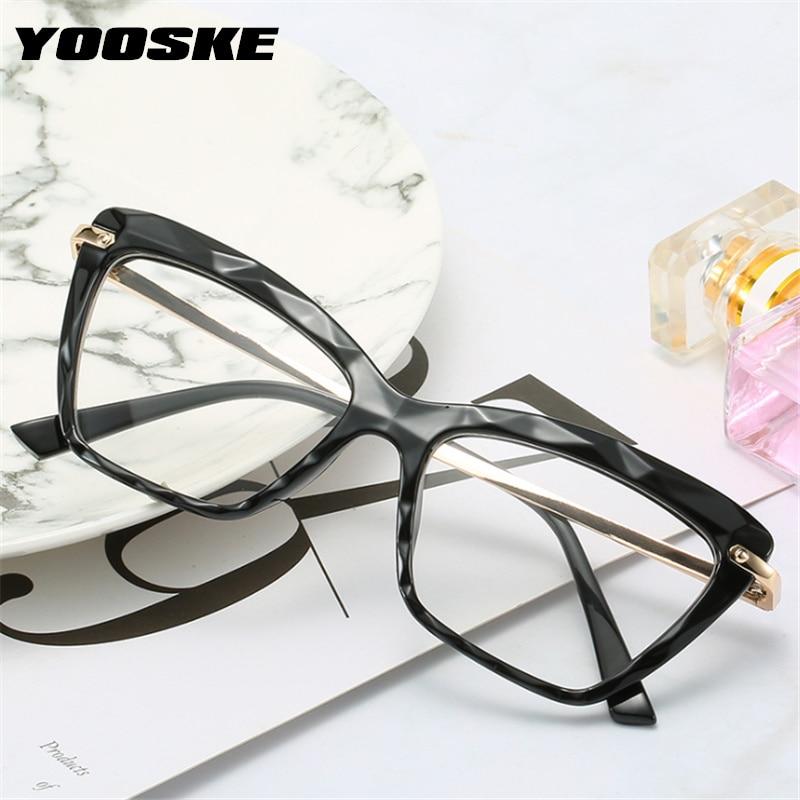 YOOSKE Brand Glasses Frame Women Fashion Transparent Myopia Eyeglasses Frame Female Optical Computer Eyewear Spectacle Frame