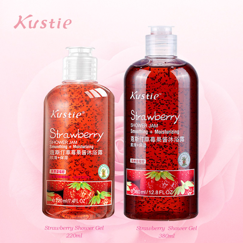 Kustie Strawberry Body Wash Whitening Body 220 Ml + 380 Ml  Natural Bath Shower Safe Autumn Winter Moisturizing Shower Gels