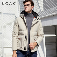 UCAK Brand White Duck Down Jacket Men Casual Hooded Coat Winter Warm Thick Outwear Stylish Fashion Tooling Pockets Clothes U8014
