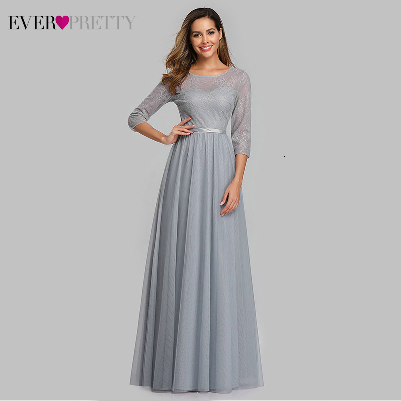 Elegant Grey Bridesmaid Dresses Ever Pretty A-Line 3/4 Sleeve O-Neck Illusion Lace Wedding Guest Dresses Vestido De Festa 2020
