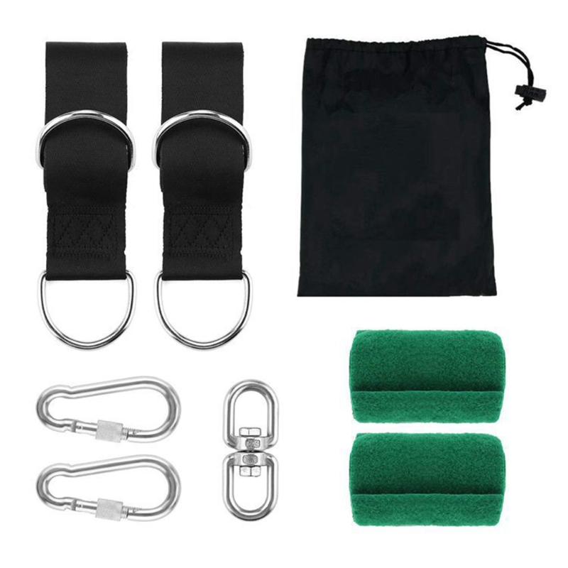 Swing Hammock Tree Mat Hanging Kit Strap Carabiner Camping Garden Swing Fittings for Outdoor Playing Sport Decoration
