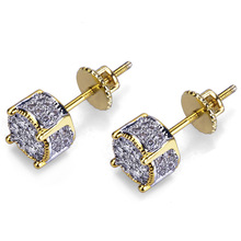 Hip Hop Claw Setting Cubic Zirconia Bling Ice Out Stud Earring Male Gold Color Copper Round Earrings for Men Fashion Jewelry