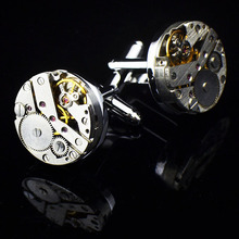 2Pcs Women Men Mechanical Watch Movement Cufflinks Shirt Sleeve Buttons Stainless Steel Cuff Links