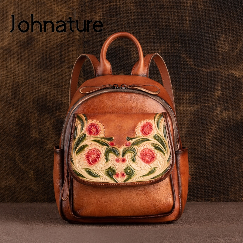 Johnature 2020 New Vintage Bagpack Genuine Leather Retro Handmade Embossing Women Backpack First Layer Cowhide Travel Bags