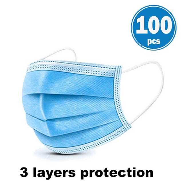 3 Layers Disposable Face Masks Dustproof Protective Cover Bacteria Proof Flu Face Mask Elastic Ear Loop Dust Filter Safe Mask 4